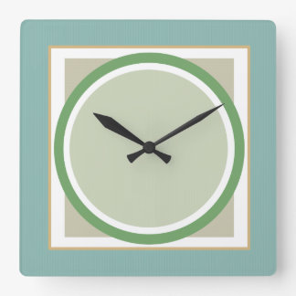 Green Sage and Beige Geometric Wall Clock