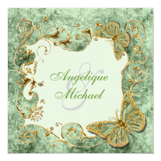 Green sage gold country wedding 13 cm x 13 cm square invitation card