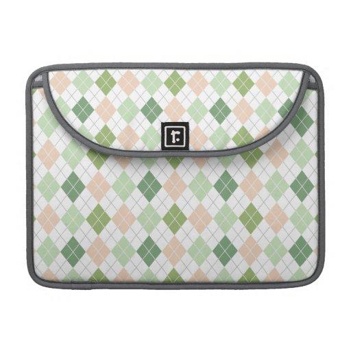 Green, Sage, Peach, White Argyle Sleeves For MacBooks