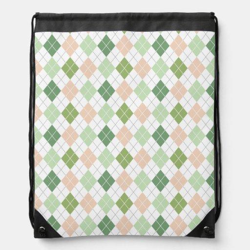 Green, Sage, Peach, White Argyle Backpack