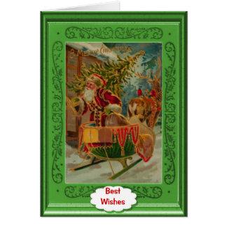 Green santa card