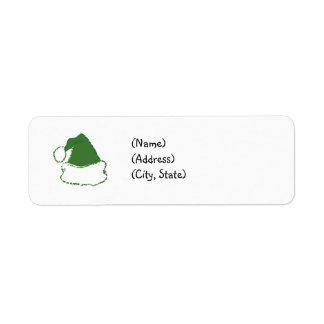 Green Santa Hat Return Address Labels