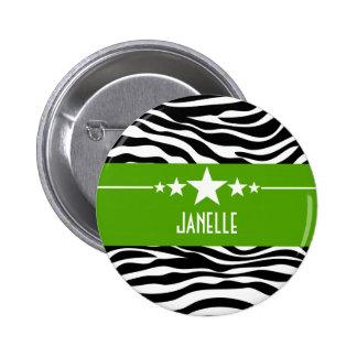 Green Sassy Star Zebra Button