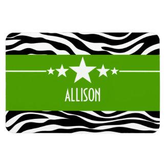 Green Sassy Star Zebra Premium Magnet