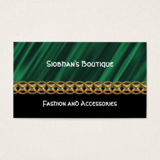 Green satin gold chain business card