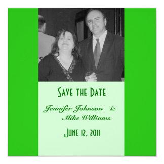 green save the date 13 cm x 13 cm square invitation card