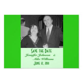 green save the date 13 cm x 18 cm invitation card