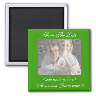 Green Save The Date Photo Magnet