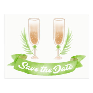Green Save the Date Wine Glasses Engagement Postcard