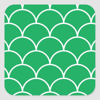 Green scales pattern square sticker