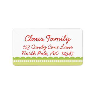 Green Scallop Christmas Address Labels Personalize