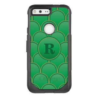 Green Scallop Monogram OtterBox Commuter Google Pixel Case