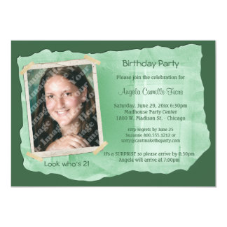 Green Scrapbook Photo Surprise Party Invite