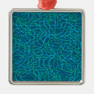 Green scribbled lines pattern Silver-Colored square decoration