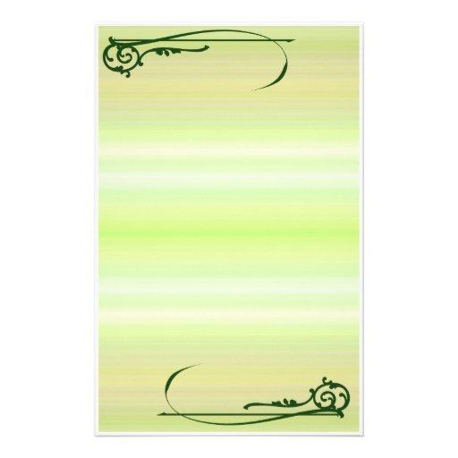 Green Scroll Fantasy Stationery