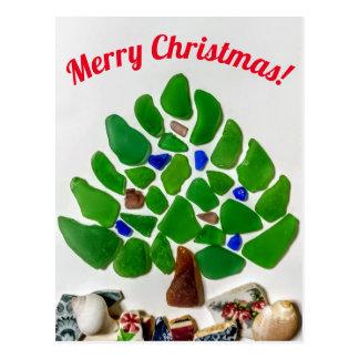 Green Sea Glass Christmas Tree Postcard