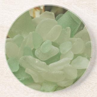 Green Sea Glass Flower Beverage Coaster