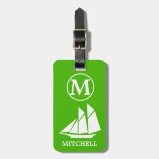 Green Sea Monogrammed Luggage Tag