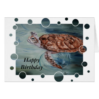Green Sea Turtle bubbles Birthday Card