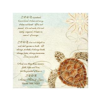 Green Sea Turtle Coastal Beach - 1 Corinthians 13 Canvas Print