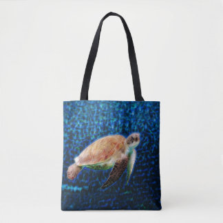 Green Sea Turtle Honu on a Blue Fractal Background Tote Bag