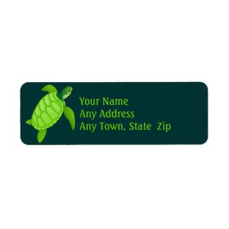 Green Sea Turtle Label Return Address Label