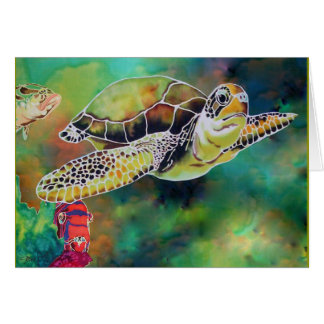 Green Sea Turtle Silk Painting Greeting Card