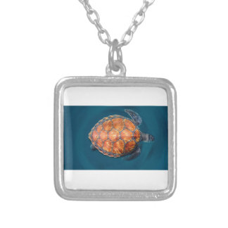 Green Sea Turtle Silver Plated Necklace