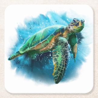 Green Sea Turtle Square Paper Coaster