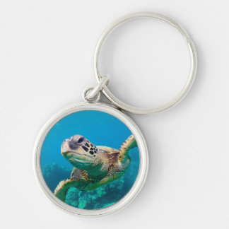 Green Sea Turtle Swimming Over Coral Reef |Hawaii Key Ring