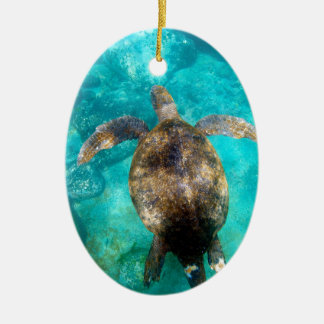 Green sea turtle swimming underwater paradise ceramic ornament