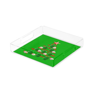 Green Sea Turtles Christmas Tree Acrylic Tray