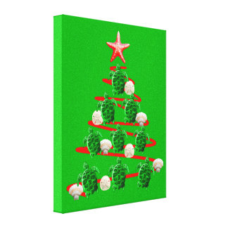 Green Sea Turtles Christmas Tree Canvas Print