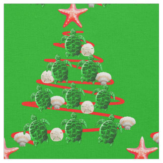 Green Sea Turtles Christmas Tree Fabric