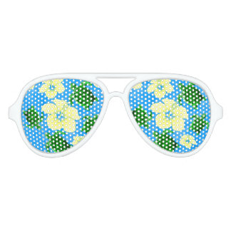 Green Sea Turtles Hawaiian Floral Design Aviator Sunglasses