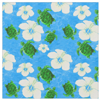 Green Sea Turtles Hawaiian Floral Pattern Fabric