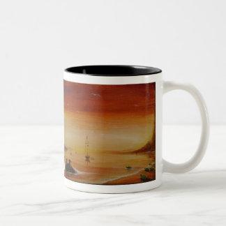 Green Sea Turtles, Sea Turtle Sunset Seascape Two-Tone Coffee Mug