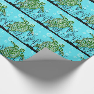 Green Sea Turtles Swimming Under Water Wrapping Paper