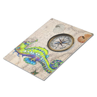 Green Seahorse Compass Notepad