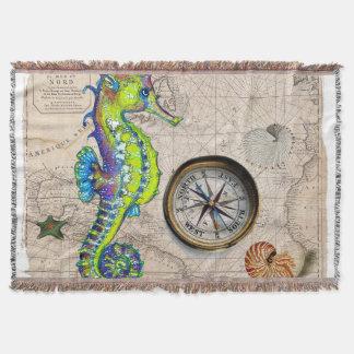 Green Seahorse Compass Throw Blanket