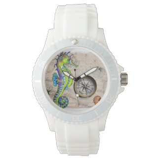 Green Seahorse Compass Watch