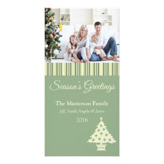 Green Seasons Greetings Holiday Photo Card