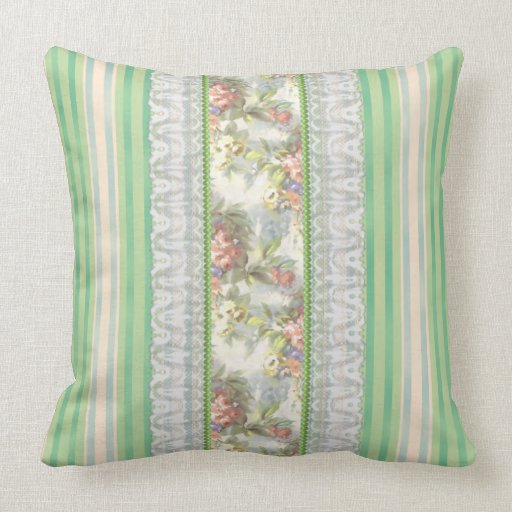 """Green """"Shabby Chic""""  Stripes-White & Pink Ros Throw Pillow"""