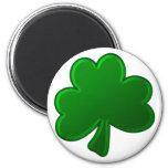 Green Shamrock 6 Cm Round Magnet