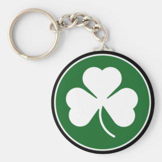 Green Shamrock Basic Round Button Key Ring