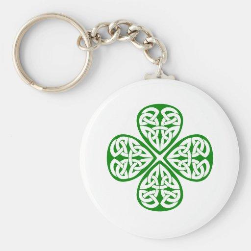 green shamrock celtic knot key chain