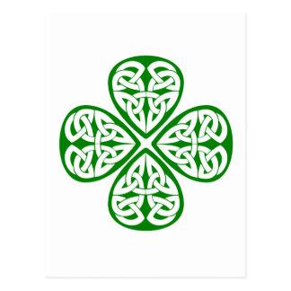 green shamrock celtic knot post card
