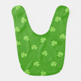 Green Shamrock Clover Pattern Saint Patricks Day Bib
