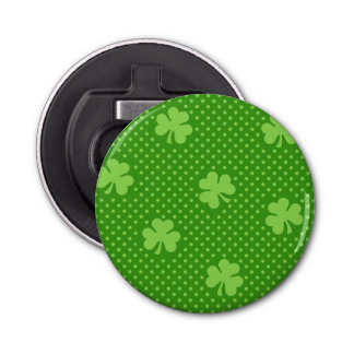 Green Shamrock Clover Pattern Saint Patricks Day Bottle Opener
