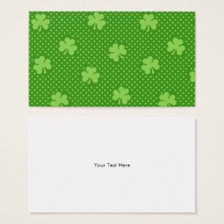Green Shamrock Clover Pattern Saint Patricks Day Business Card